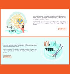 wonderful summer waterpolo and scuba diving web vector image