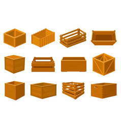 wooden boxes delivery containers empty wood vector image