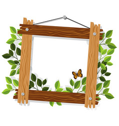 wooden frame with leaves and butterfly vector image