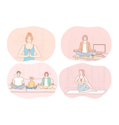 yoga relaxation meditation healthy active sport vector image