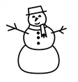 Cute snowman with hat and scarf vector image