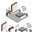 Isometric Create A Bedroom Icon Set vector image