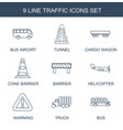 9 traffic icons vector image vector image
