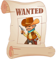 a paper with a print a wanted cowboy vector image