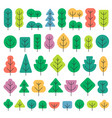 a set of trees of different shapes and colors in vector image vector image