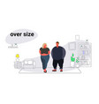 abdomen fat overweight couple man woman cartoon vector image vector image