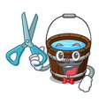 barber wooden bucket character cartoon vector image vector image