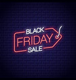 black friday neon sign sale tag neon banner on vector image