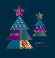 blue and gold xmas tree design element vector image