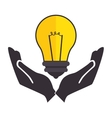 bulb light education with hands human icon vector image