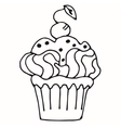 cake with strawberry cupcake drawn in outline vector image