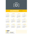 calendar poster for 2020 year week starts vector image vector image