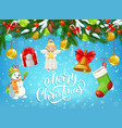 christmas gift snowman bell hanging on xmas tree vector image