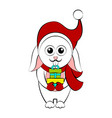 christmas rabbit character holding a present vector image vector image