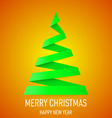 Christmas tree made of folded paper origami 09 vector image vector image