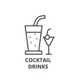 cocktail drinks line icon outline sign linear vector image vector image