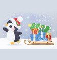 cute christmas greeting card with penguin vector image vector image