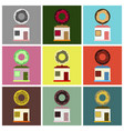 flat icons set donut shop vector image