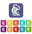 foamy splash icons set vector image vector image