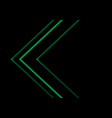 green light neon arrow direction on black vector image vector image