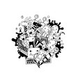 hand drawing doodle monsters on white vector image vector image