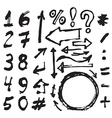 Hand drawn figures Elements symbols arrows set vector image vector image