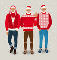 handsome men dressed as santa claus vector image