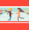 happy couple boy and girl running to each other vector image
