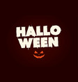 happy halloween text logo with pumpkin vector image vector image