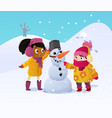happy kids playing with snowman funny little girs vector image vector image