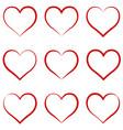 heart outline red set symbol friendship vector image vector image
