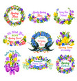 hello spring floral frame and border icon set vector image vector image