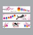 horizontal banners set with hand drawn year of vector image