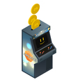Isolated Arcade Game Cabinet Insert Coin Isometric vector image vector image