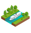 isometric old paddle steamer ship on the river vector image