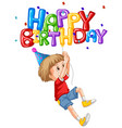 little boy and happy birthday balloon vector image vector image