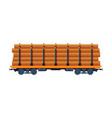 loaded cargo train wagon industrial railroad vector image vector image