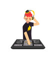 male dj in headphones playing track and mixing vector image vector image