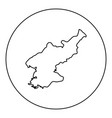 map of north korea icon black color in round vector image