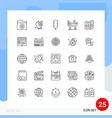 modern set 25 lines and symbols such as plan vector image vector image