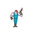 Plumber Standing Monkey Wrench Cartoon vector image vector image