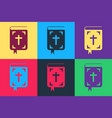 pop art bible book icon isolated on color vector image vector image
