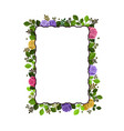 rectangular frame decorated with roses and leaves vector image