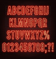 retro red neon alphabet with numbers on brick vector image