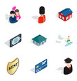 romantic trip icons set isometric style vector image