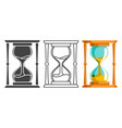 sand hourglass time leak flat lineart silhouette vector image vector image