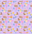 seamless cute balloon and cake background pattern vector image vector image