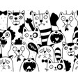 seamless pattern with crowd nlack and white vector image