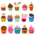 set of cute cupcakes and muffins isolated vector image vector image