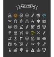 Set of Halloween Line Art Icons Pumpkin Skulls vector image